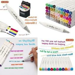 Shuttle Art 51 Colors Dual Tip Alcohol Based Art Markers, 50