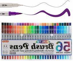 Shuttle Art 56 Colors Dual Tip Brush Pens Art Markers,Brush