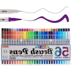 Shuttle Art 56 Colors Dual Tip Brush Pens Markers,with Finel