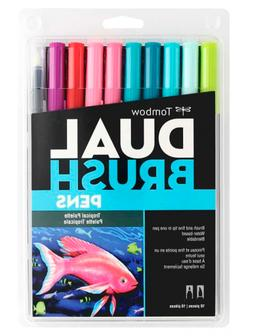 Tombow 56189 Dual Brush Pen Art Markers, Tropical Set, 10-Pa