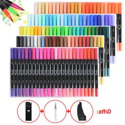 100 120 Colors Water Based Brush Marker Pens Dual Tips Soft