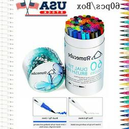 HOMECUBE 60 Color Art Marker Brush Pens Dual Tip School Pain