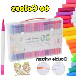 60 Colors Art Markers Dual Tips Coloring Brush Pen Fineliner