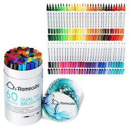 60 Colors Art Markers Dual Tips Sketch Coloring Brush Pen Fi