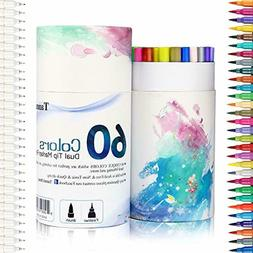 60 Colors Calligraphy Brush Marker Pens Dual Tip Fine Point