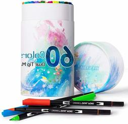 60 Colors Dual Tip Calligraphy Brush Marker Pens, Colored Jo