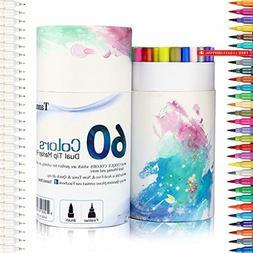60 Dual Tip Brush Pens Art Markers, Fine Liner Brush Tip Dou