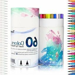 60 Dual Tip Brush Pens Art Markers, Fine liner Brush Tip Dou