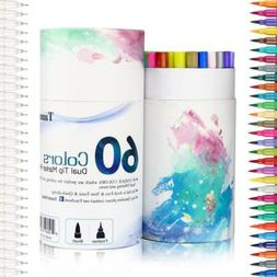 60 Dual Tip Brush Pens Art Markers, Fine liner Double Colore