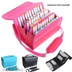 60 Slots Marker Pen Storage Case Carrying Bag Holder Organiz