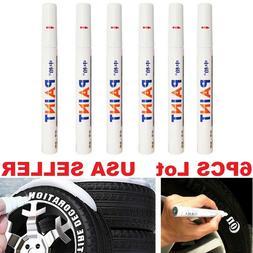6PC White Paint Pen Marker Waterproof Permanent Car Tire Let