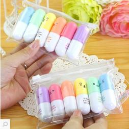 6PCS Highlighter Pen Rabbit Writing Kawaii Stationery Mini M