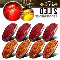 Partsam Universal Red/Amber Surface Mount LED Side Fender Ma