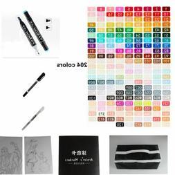 80/168/204 Color Set Marker Pen Alcohol Graphic Art Twin Tip