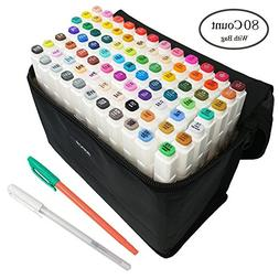 80 Alcohol Based Brush Tips Markers Pens Case Drawing Marker