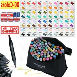 80-color Alcohol Marker set,alcohol markers Dual Tips art su