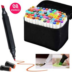 80 Color Markers Pen SET Graphic Art Drawing Twin Tips Marke