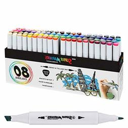 80 Color Super Markers Primary Secondary Tones Dual Tip Set