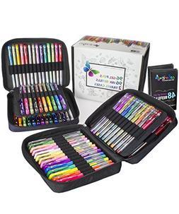 ColorIt 96 Gel Pens For Adult Coloring Books - 2 Travel Case