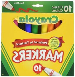 CRAYOLA MARKERS CLASSIC BROAD LINE, 10 PC,3 pack