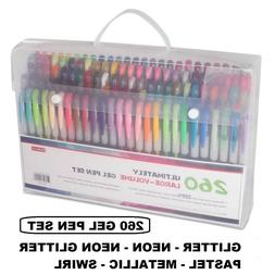 Shuttle Art 260 Colors Gel Pens and Refills Set Adult Colori