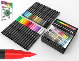 Acrylic Paint Pens 30 Assorted Markers Set 0.7mm Extra Fine