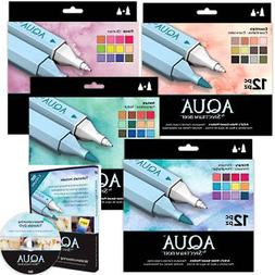 All 4 Spectrum Noir Aqua Water Based 12 Marker Sets +Waterco