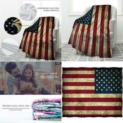 Jekeno American Flag Blanket Vintage Us Flag Soft Warm Throw