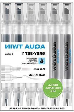 Molotow Aqua Twin Grey Set 1 6 Colours Kit Marker Water Base