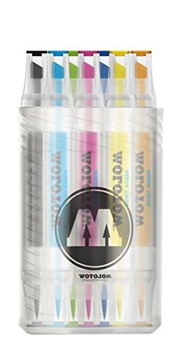 Molotow Aqua Twin Marker Complete Color Set, Brush and Chise
