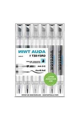 Molotow Aqua Twin Marker Grey Set 1, Brush and Chisel Nib, A