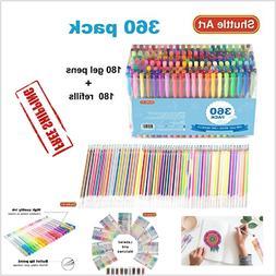 Art Markers 360 Pack Gel Pens Set Shuttle Art 180 Colors Pen