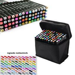 Art Permanent Marker Pens Set 80 Colors Alcohol Markers Dual