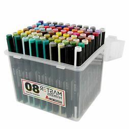80 Color Artist Illustration Drawing Marker Dual Tip Chisel