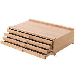 U.S. Art Supply 4 Drawer Wood Artist Supply Storage Box - Pa