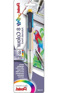 Pentel Arts 8 Colour Automatic Pencil, Assorted Accent Clip