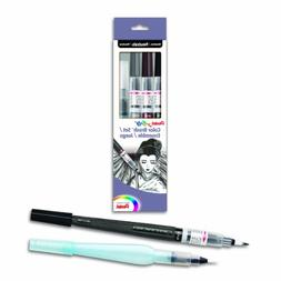 Pentel Arts Color Water Brush Box Set, Black/Gray/Sepia/Aqua