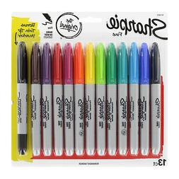 12 PACK ASSORTED COLORS SHARPIE FINE PERMANENT MARKERS +1 BO