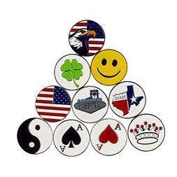 PINMEI Lot of 10 Different Golf Ball Markers, Special Unique