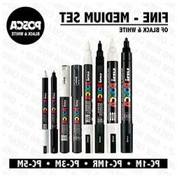POSCA Black & White - Fine to Medium Set of 8 Pens