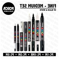 POSCA Black & White - Fine to Medium Set of 8 Pens
