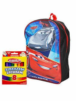 "Boys Cars Lightning McQueen Backpack 15"" and Markers 8PK Set"