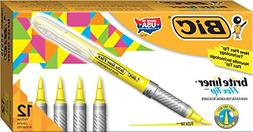 BIC Brite Liner Flex Tip Highlighter, Yellow, 12-Count