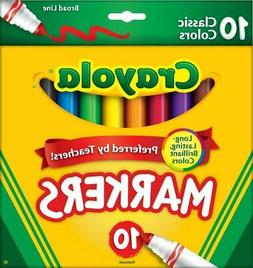 Crayola Broad Line Markers Classic Colors 10 Each  Lot Of