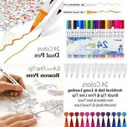Brush Marker Pens Dual Tips Bullet Journal Fine Point Pen &