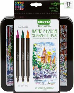 Crayola Brush Markers, Dual-Tip with Ultra Fine Marker, 32 C