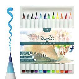 MozArt Supplies Brush Pens Set - 12 Colors - Soft Flexible R
