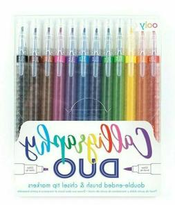 OOLY Calligraphy Duo Chisel and Brush Tip Markers Set of 12