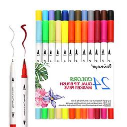 Dainayw 24pcs Calligraphy Pens, Colored Pens Dual Tip Art Ma