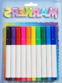 Darice 10-Piece Ceramic Glass Markers, Assorted Colors